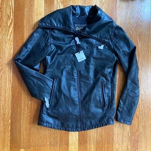 Zara Man Leather Motorcycle Zipper Jacket size L